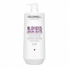 "Шампунь ""Goldwell Dualsenses Blondes & Highlights Anti-Yellow Shampoo"" 1000мл против желтизны для осветленных волос"