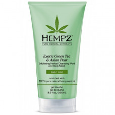 "Маска-глина ""Hempz Exotic Green Tea & Asian Pear Exfoliating Herbal Cleansing Mud and Body Mask растительная, отшелушивающая"" 200мл"